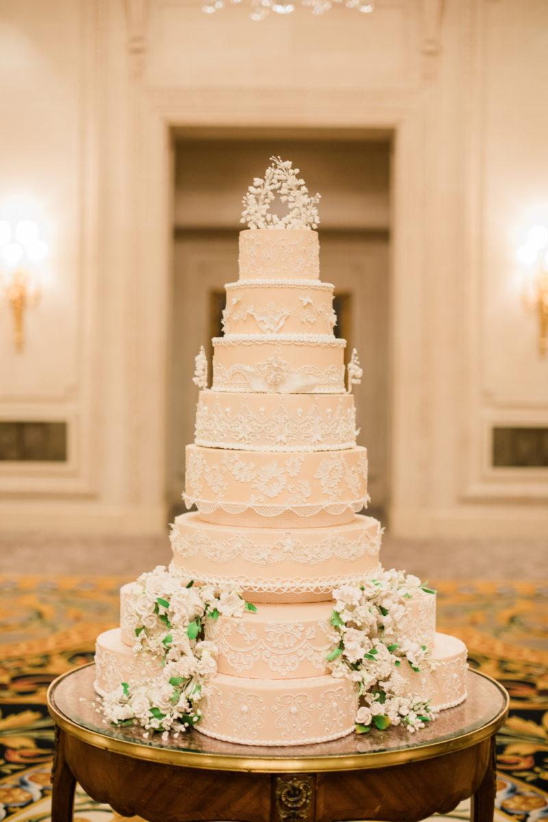 Luxury Wedding Cake at Four Seasons George V, Paris, Bouchra Sugar Designer